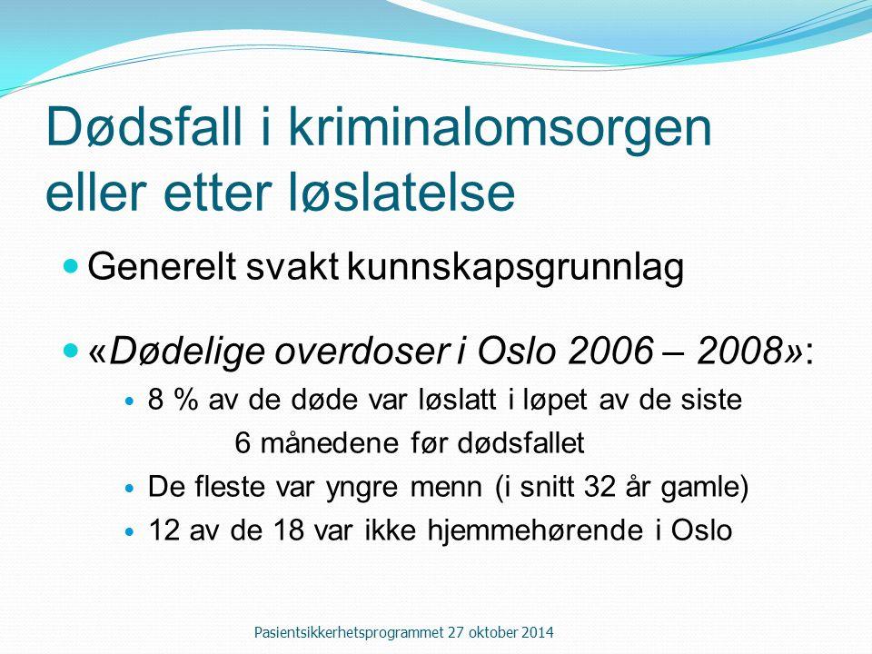Dødsfall i kriminalomsorgen eller etter løslatelse Generelt svakt kunnskapsgrunnlag «Dødelige overdoser i Oslo 2006 – 2008»: 8 % av de døde var løslatt i løpet av de siste 6 månedene før dødsfallet De fleste var yngre menn (i snitt 32 år gamle) 12 av de 18 var ikke hjemmehørende i Oslo Pasientsikkerhetsprogrammet 27 oktober 2014