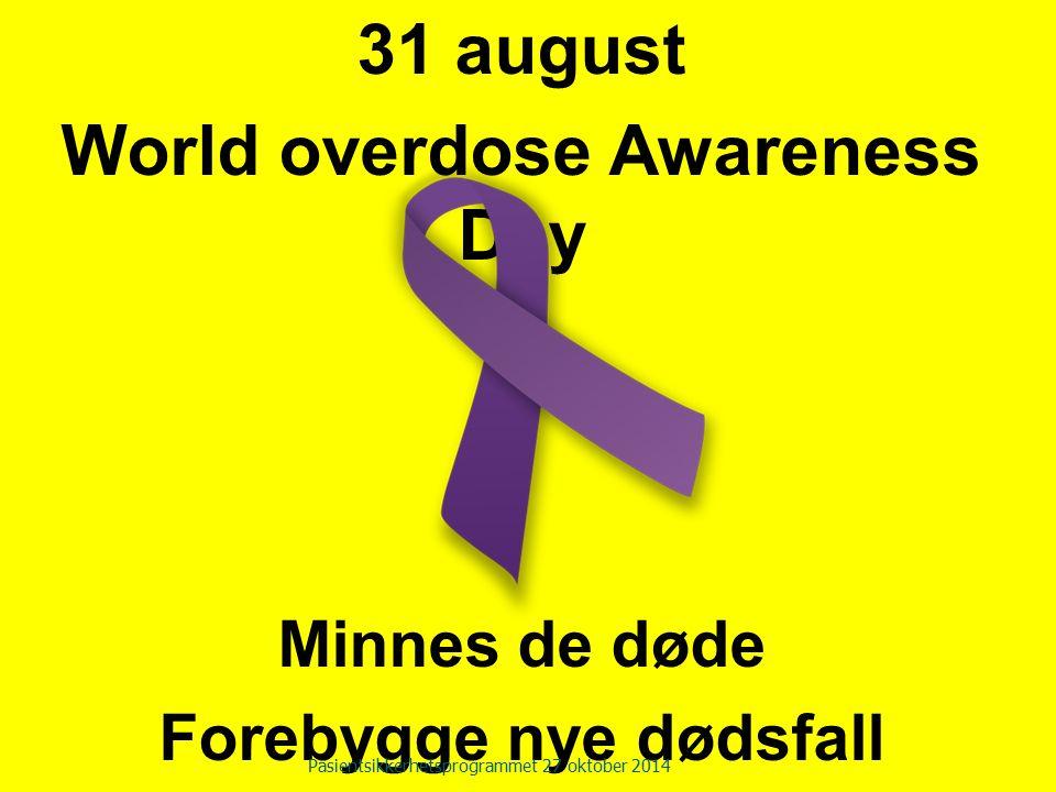 31 august World overdose Awareness Day Minnes de døde Forebygge nye dødsfall Pasientsikkerhetsprogrammet 27 oktober 2014