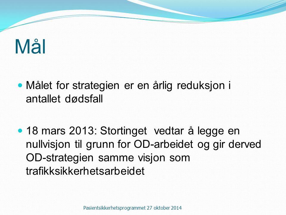 Mål Målet for strategien er en årlig reduksjon i antallet dødsfall 18 mars 2013: Stortinget vedtar å legge en nullvisjon til grunn for OD-arbeidet og gir derved OD-strategien samme visjon som trafikksikkerhetsarbeidet Pasientsikkerhetsprogrammet 27 oktober 2014
