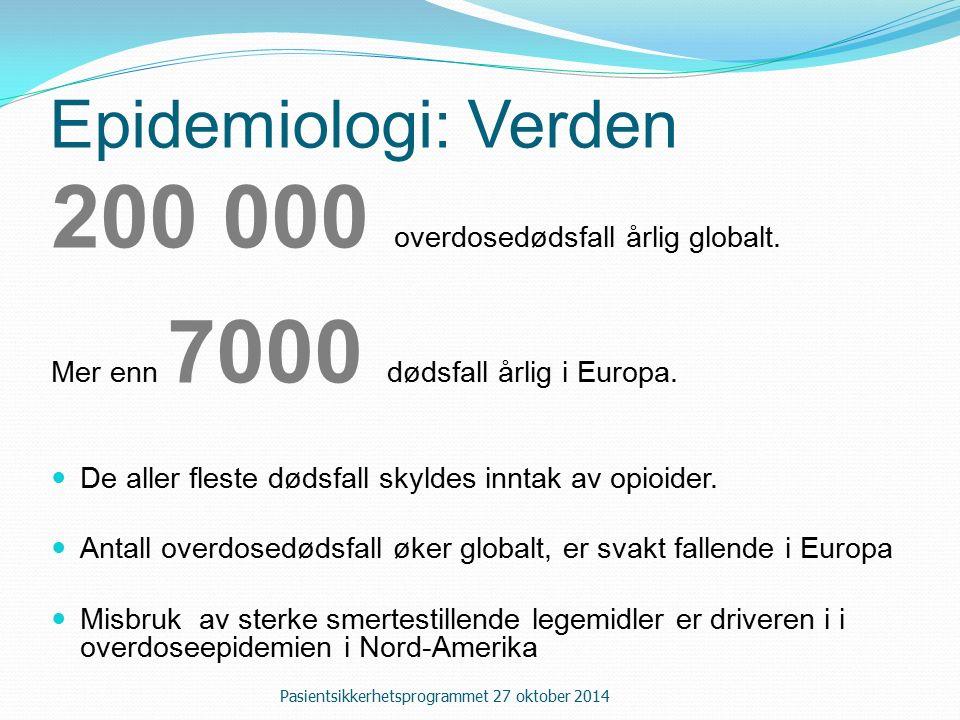 Epidemiologi: Verden 200 000 overdosedødsfall årlig globalt.