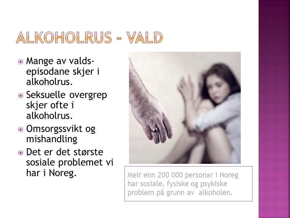 Meir enn 200 000 personar i Noreg har sosiale, fysiske og psykiske problem på grunn av alkoholen.