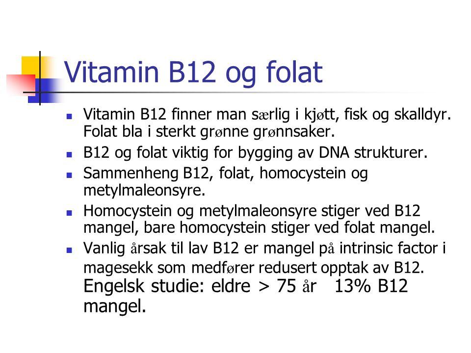 Vitamin B12 og folat Vitamin B12 finner man s æ rlig i kj ø tt, fisk og skalldyr. Folat bla i sterkt gr ø nne gr ø nnsaker. B12 og folat viktig for by