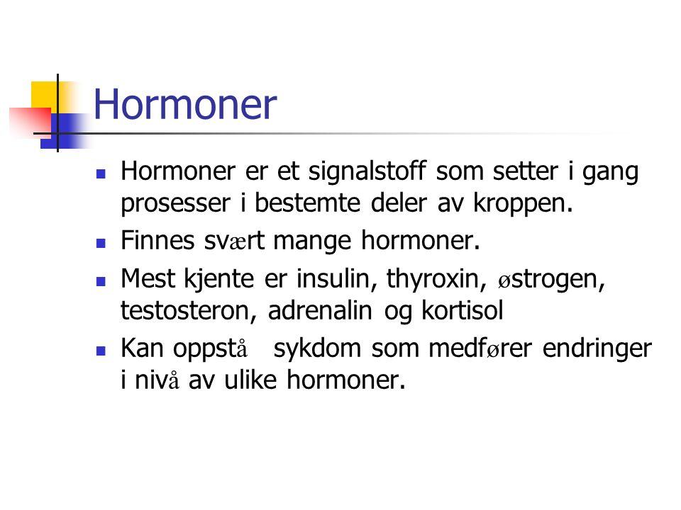Hormoner Hormoner er et signalstoff som setter i gang prosesser i bestemte deler av kroppen. Finnes sv æ rt mange hormoner. Mest kjente er insulin, th