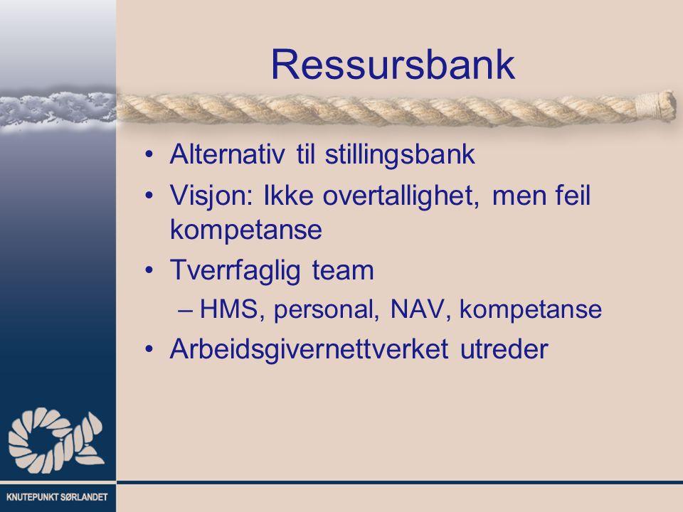 Ressursbank Alternativ til stillingsbank Visjon: Ikke overtallighet, men feil kompetanse Tverrfaglig team –HMS, personal, NAV, kompetanse Arbeidsgivernettverket utreder