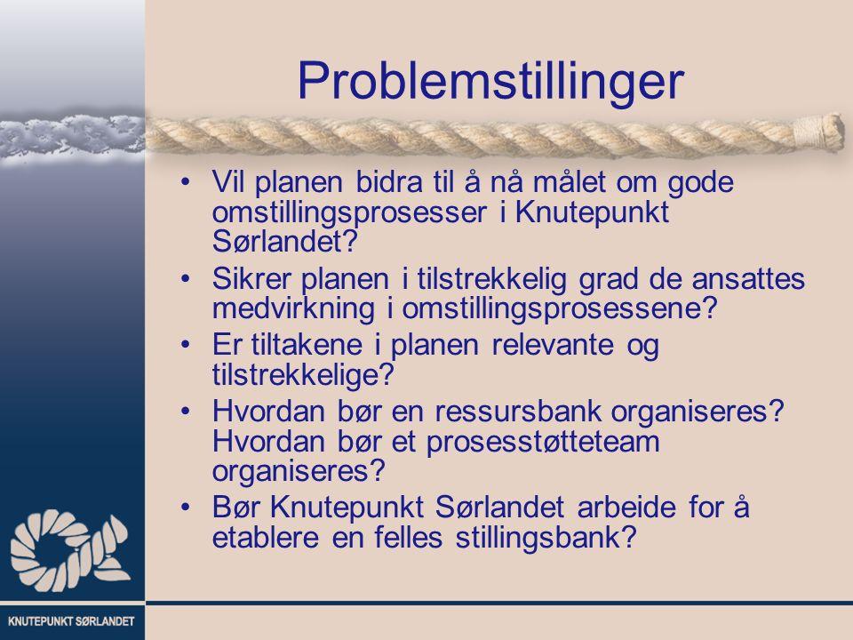 Problemstillinger Vil planen bidra til å nå målet om gode omstillingsprosesser i Knutepunkt Sørlandet.