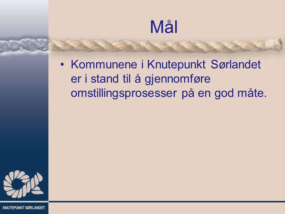 Mål Kommunene i Knutepunkt Sørlandet er i stand til å gjennomføre omstillingsprosesser på en god måte.