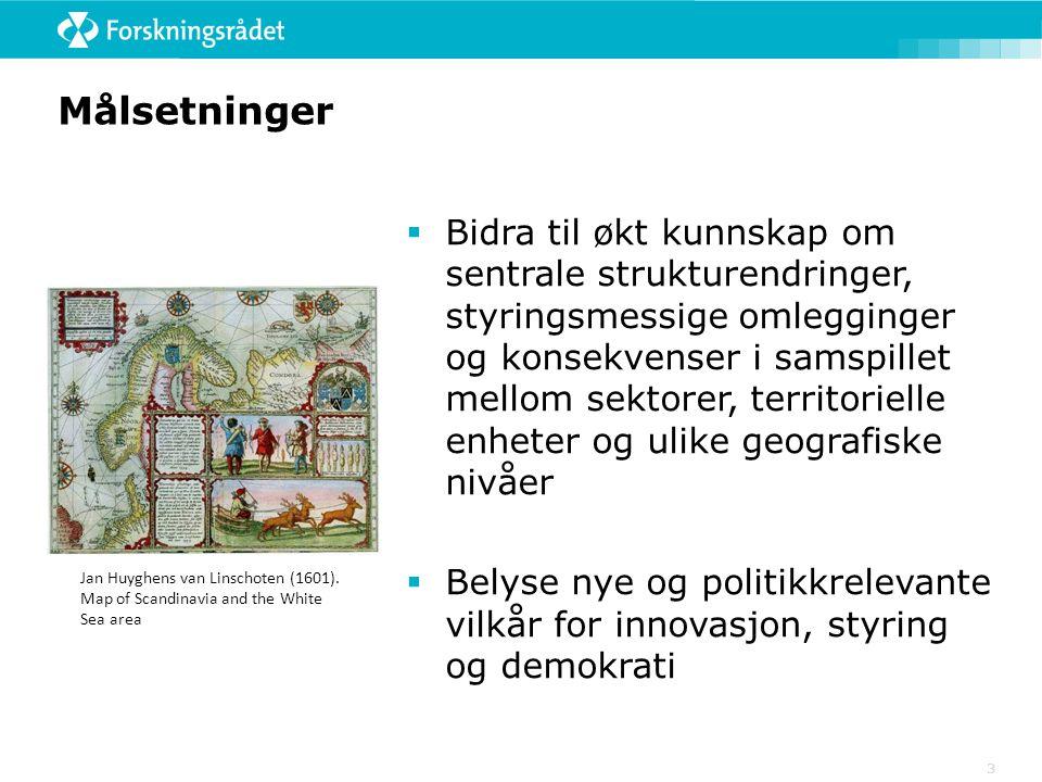 Målsetninger  Bidra til økt kunnskap om sentrale strukturendringer, styringsmessige omlegginger og konsekvenser i samspillet mellom sektorer, territorielle enheter og ulike geografiske nivåer  Belyse nye og politikkrelevante vilkår for innovasjon, styring og demokrati 3 Jan Huyghens van Linschoten (1601).