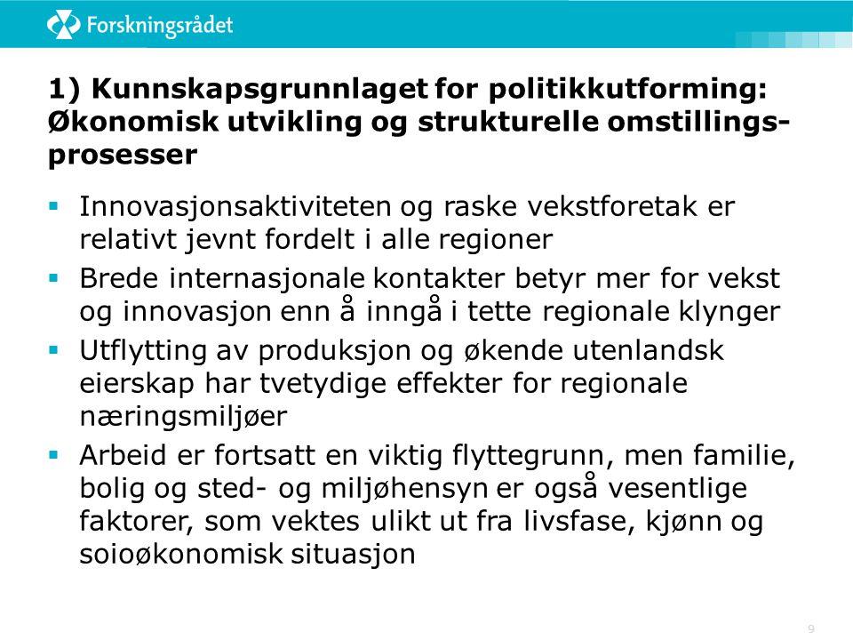 9 1) Kunnskapsgrunnlaget for politikkutforming: Økonomisk utvikling og strukturelle omstillings- prosesser  Innovasjonsaktiviteten og raske vekstfore