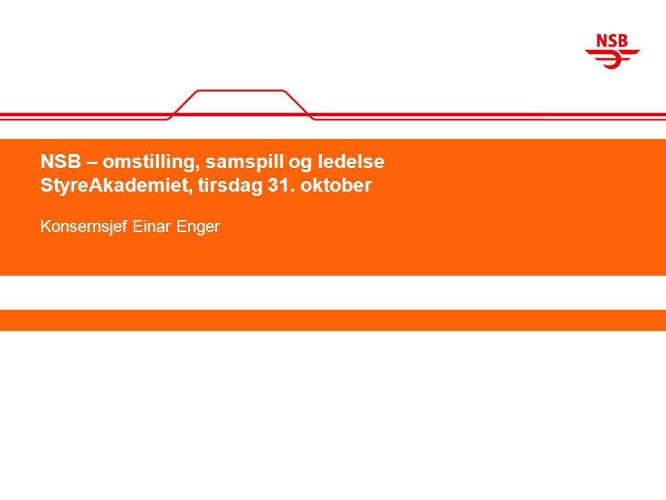 NSB – omstilling, samspill og ledelse StyreAkademiet, tirsdag 31. oktober Konsernsjef Einar Enger