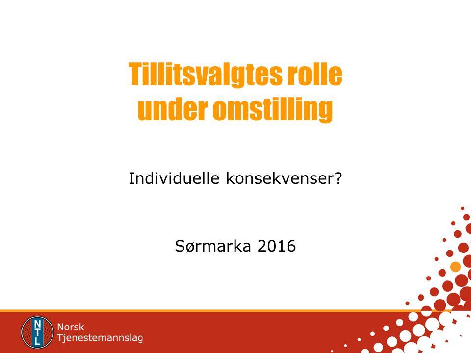 Tillitsvalgtes rolle under omstilling Individuelle konsekvenser Sørmarka 2016