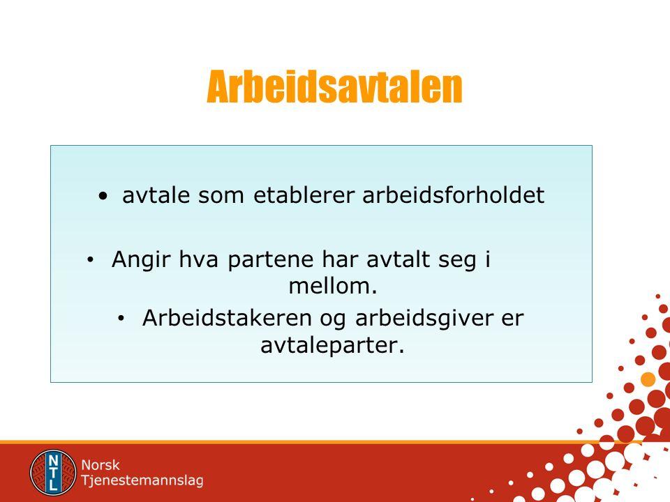 Arbeidsavtalen avtale som etablerer arbeidsforholdet Angir hva partene har avtalt seg i mellom. Arbeidstakeren og arbeidsgiver er avtaleparter.