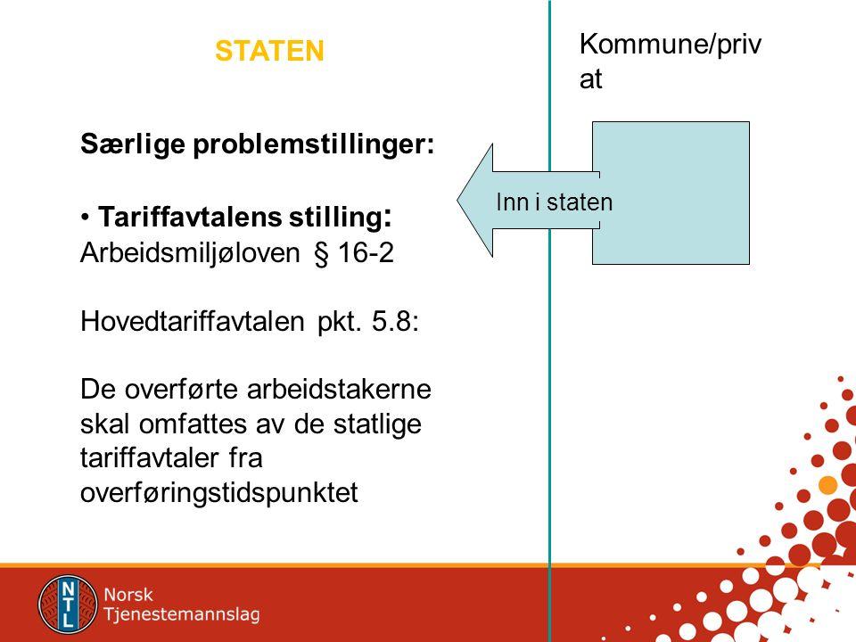 STATEN Kommune/priv at Inn i staten Særlige problemstillinger: Tariffavtalens stilling : Arbeidsmiljøloven § 16-2 Hovedtariffavtalen pkt. 5.8: De over