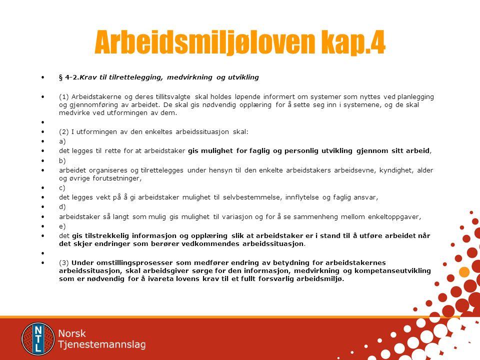 Arbeidsmiljøloven kap.4 § 4-2.Krav til tilrettelegging, medvirkning og utvikling (1) Arbeidstakerne og deres tillitsvalgte skal holdes løpende informe