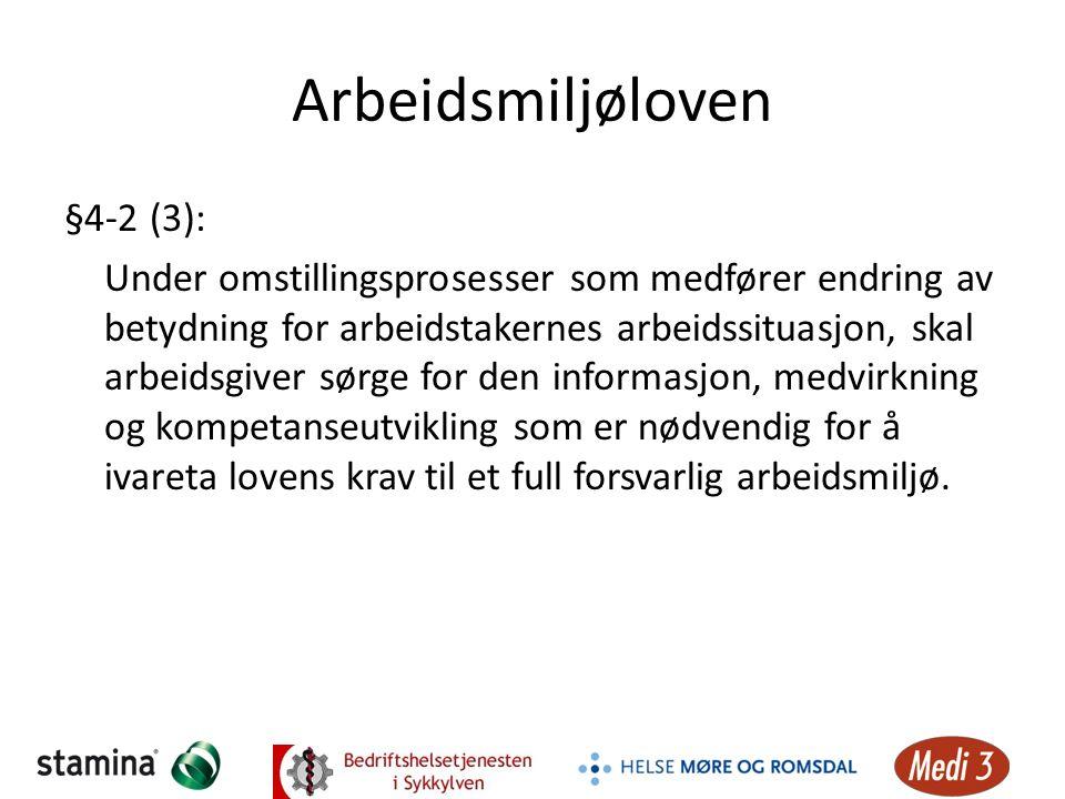 Arbeidsmiljøloven §4-2 (3): Under omstillingsprosesser som medfører endring av betydning for arbeidstakernes arbeidssituasjon, skal arbeidsgiver sørge