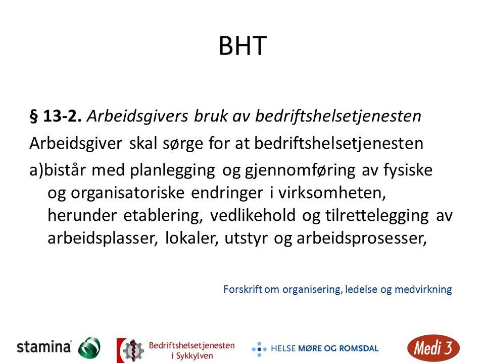 BHT § 13-2. Arbeidsgivers bruk av bedriftshelsetjenesten Arbeidsgiver skal sørge for at bedriftshelsetjenesten a)bistår med planlegging og gjennomføri