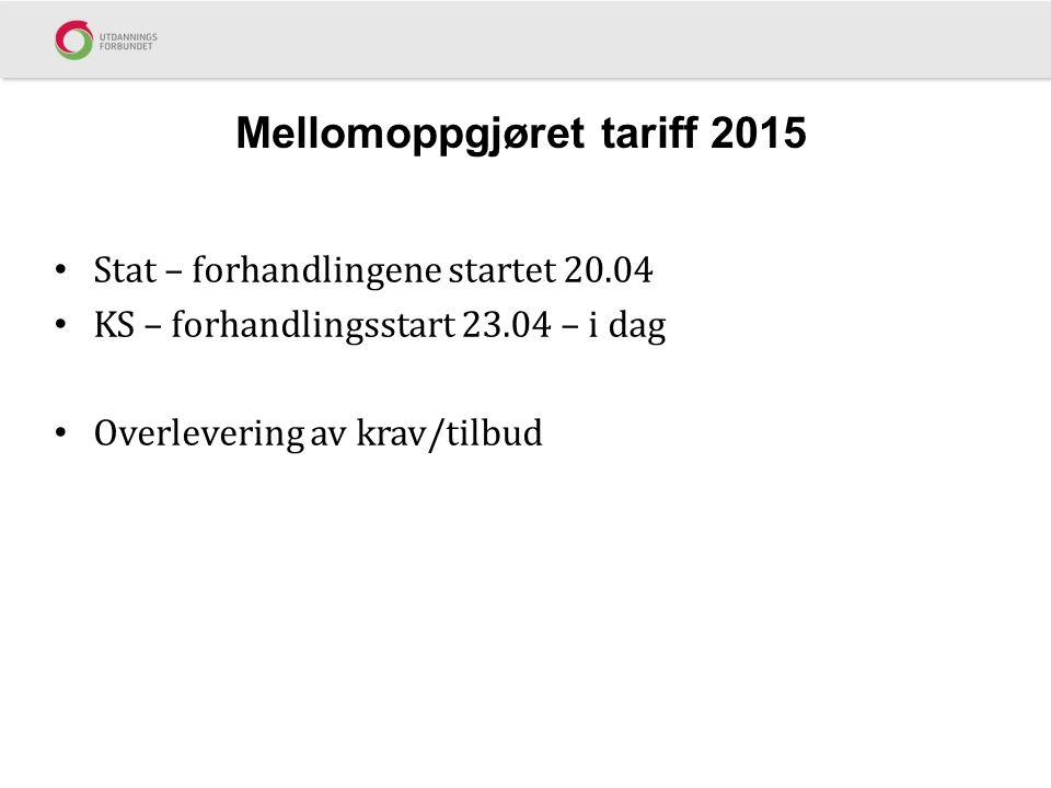 Mellomoppgjøret tariff 2015 Stat – forhandlingene startet 20.04 KS – forhandlingsstart 23.04 – i dag Overlevering av krav/tilbud