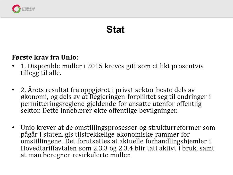Stat Første krav fra Unio: 1. Disponible midler i 2015 kreves gitt som et likt prosentvis tillegg til alle. 2. Årets resultat fra oppgjøret i privat s