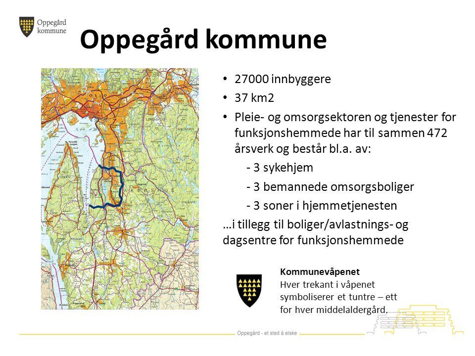 Oppegård kommune 27000 innbyggere 37 km2 Pleie- og omsorgsektoren og tjenester for funksjonshemmede har til sammen 472 årsverk og består bl.a.
