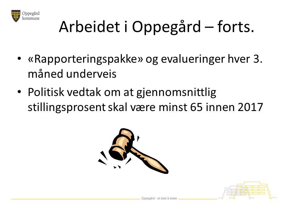 Arbeidet i Oppegård – forts. «Rapporteringspakke» og evalueringer hver 3.