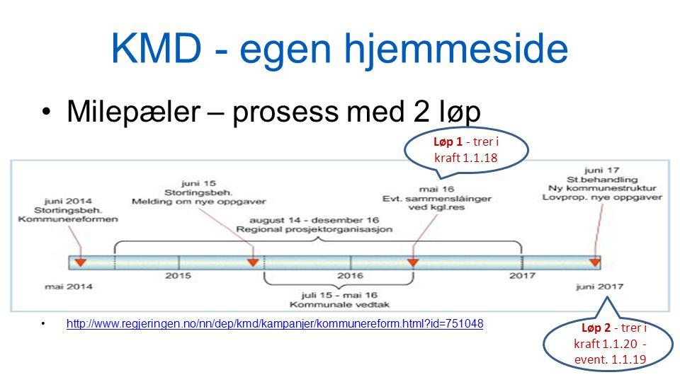 KMD - egen hjemmeside Milepæler – prosess med 2 løp http://www.regjeringen.no/nn/dep/kmd/kampanjer/kommunereform.html?id=751048 Løp 1 - trer i kraft 1.1.18 Løp 2 - trer i kraft 1.1.20 - event.