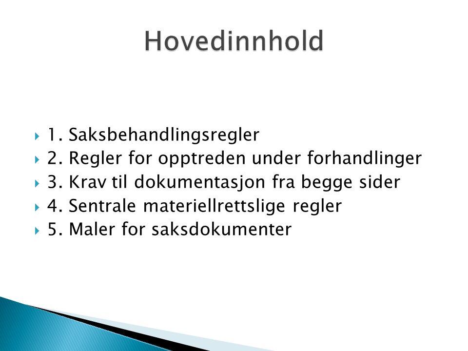  1. Saksbehandlingsregler  2. Regler for opptreden under forhandlinger  3.