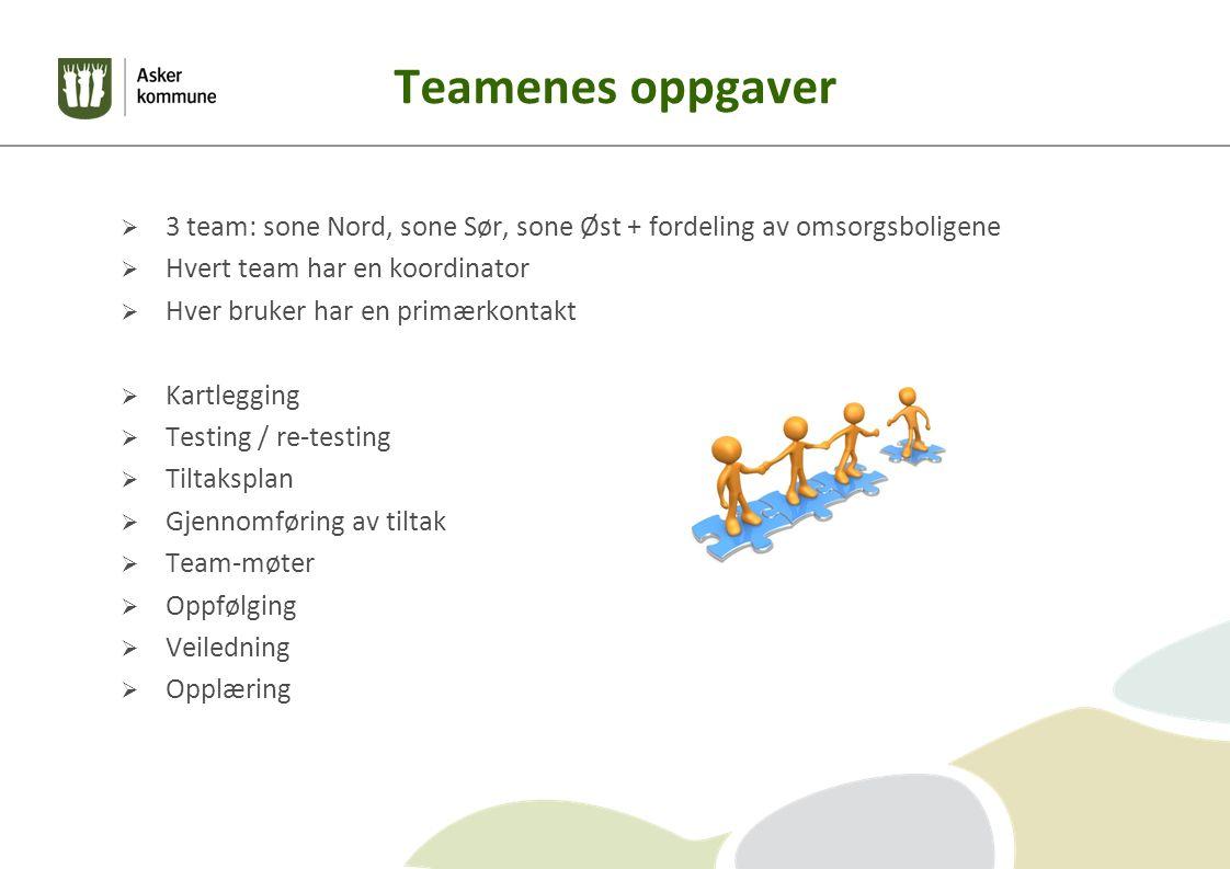 Teamenes oppgaver  3 team: sone Nord, sone Sør, sone Øst + fordeling av omsorgsboligene  Hvert team har en koordinator  Hver bruker har en primærkontakt  Kartlegging  Testing / re-testing  Tiltaksplan  Gjennomføring av tiltak  Team-møter  Oppfølging  Veiledning  Opplæring