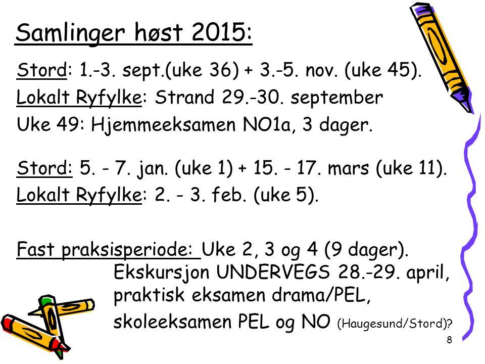 Samlinger høst 2015: Stord: 1.-3. sept.(uke 36) + 3.-5.