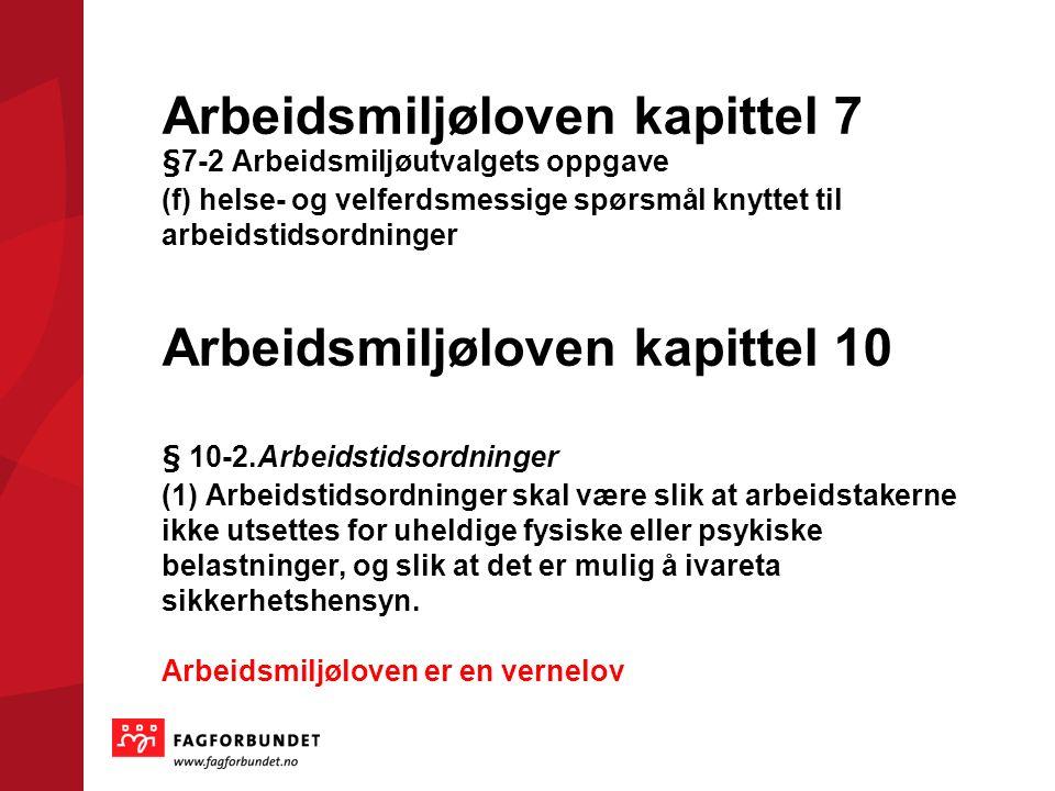 Arbeidsmiljøloven kapittel 7 §7-2 Arbeidsmiljøutvalgets oppgave (f) helse- og velferdsmessige spørsmål knyttet til arbeidstidsordninger Arbeidsmiljøloven kapittel 10 § 10-2.Arbeidstidsordninger (1) Arbeidstidsordninger skal være slik at arbeidstakerne ikke utsettes for uheldige fysiske eller psykiske belastninger, og slik at det er mulig å ivareta sikkerhetshensyn.