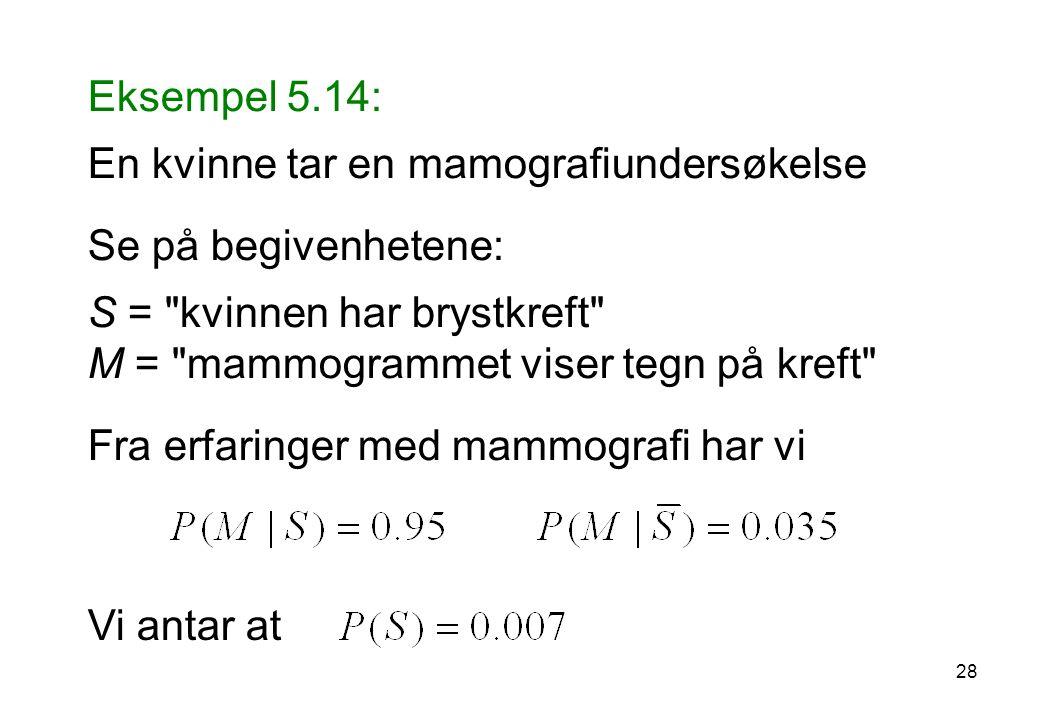 Eksempel 5.14: En kvinne tar en mamografiundersøkelse Se på begivenhetene: S =