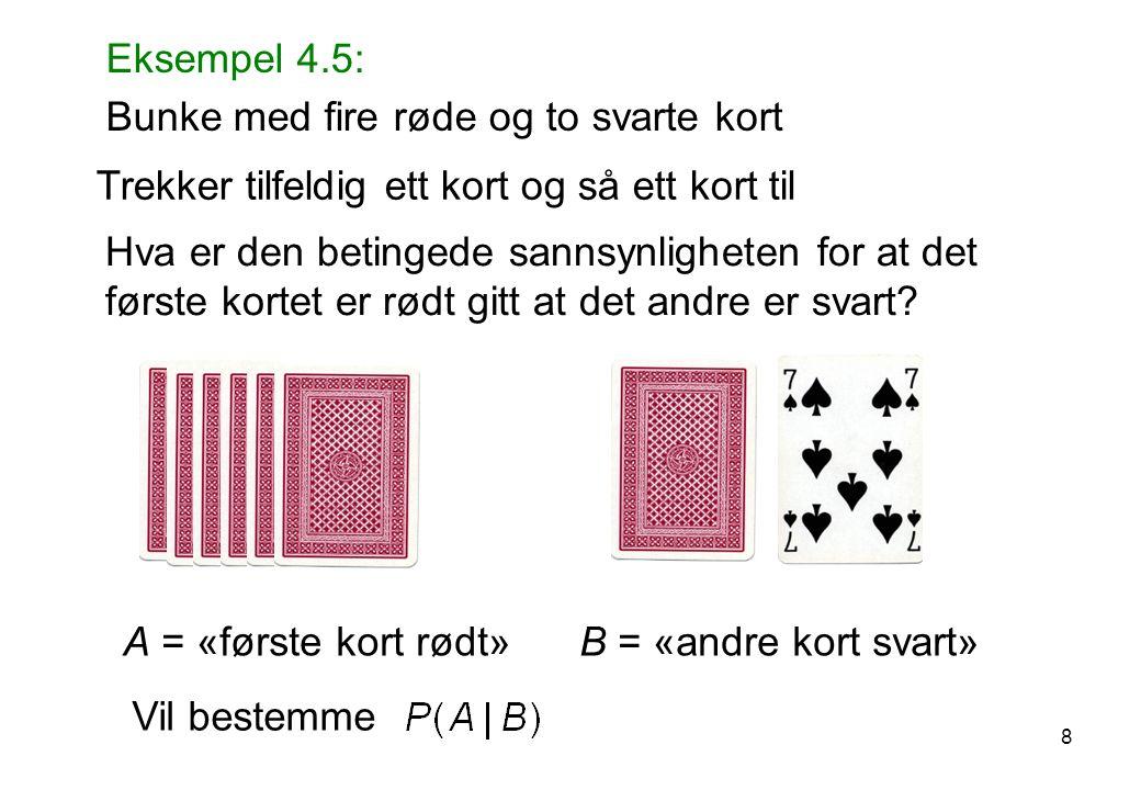 A = «første kort rødt» B = «andre kort svart» Trekker tilfeldig ett kort og så ett kort til Eksempel 4.5: Bunke med fire røde og to svarte kort Hva er