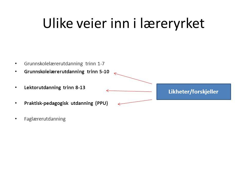ULIKE VEIER INN I LÆRERYRKET Likheter/ forskjeller 11