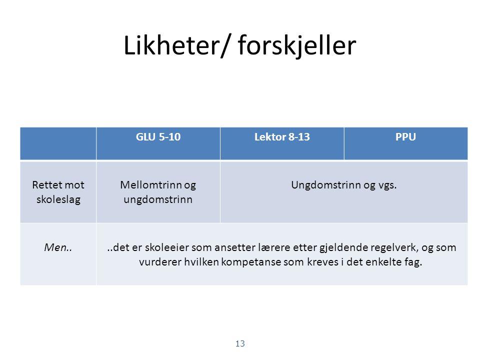 Ulike veier inn i læreryrket Grunnskolelærerutdanning trinn 1-7 Grunnskolelærerutdanning trinn 5-10 Lektorutdanning trinn 8-13 Praktisk-pedagogisk utdanning (PPU) Faglærerutdanning 12 Likheter/forskjeller