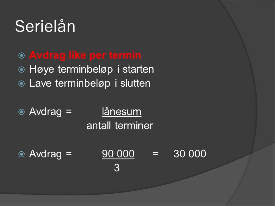  Avdrag like per termin  Høye terminbeløp i starten  Lave terminbeløp i slutten  Avdrag = lånesum antall terminer  Avdrag = 90 000 = 30 000 3