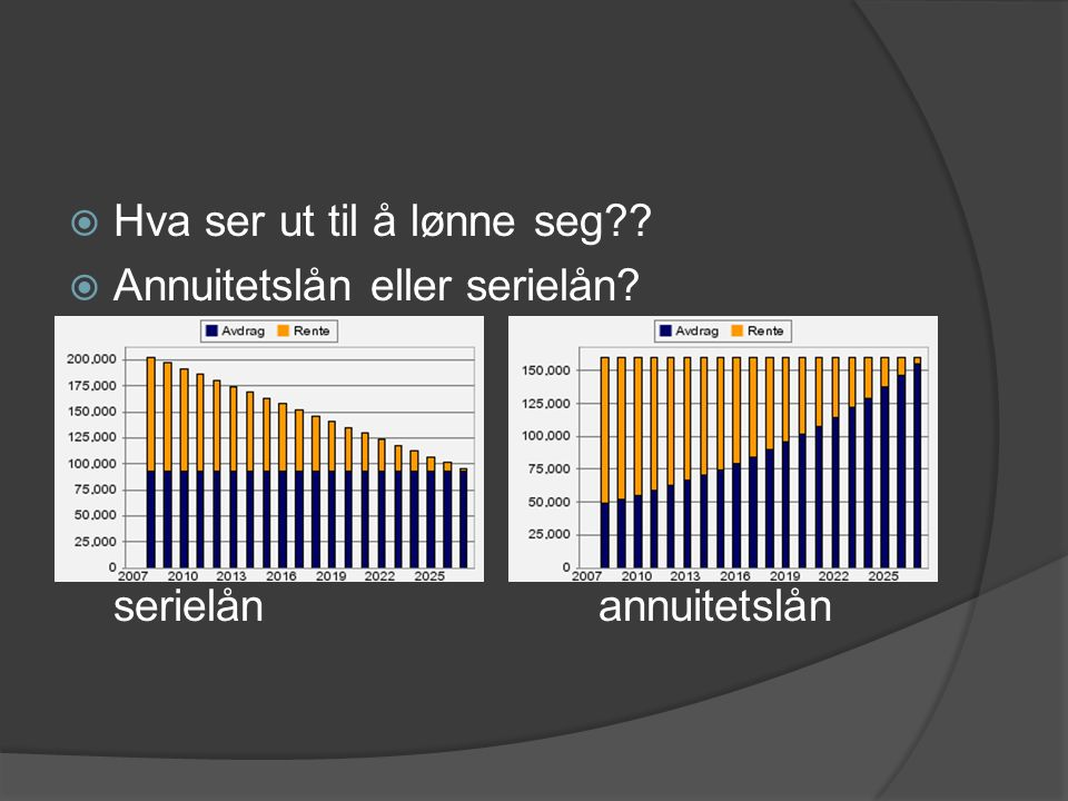  Hva ser ut til å lønne seg  Annuitetslån eller serielån serielånannuitetslån