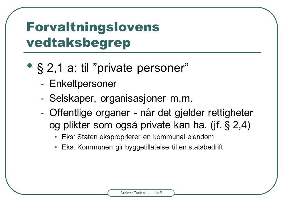 Steinar Taubøll - UMB Forvaltningslovens vedtaksbegrep § 2,1 a: utøving av offentlig myndighet -Avgjørelser som bare det offentlige kan ta -Styringen over borgerne -Tildeling av økonomisk støtte m.m.