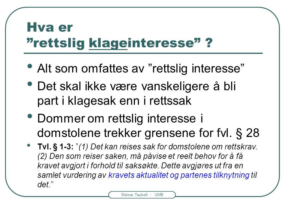 Steinar Taubøll - UMB Hvem kan klage. Fvl.