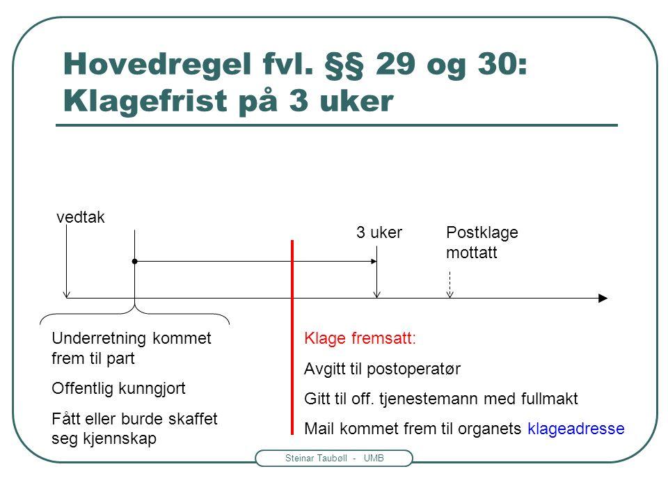 Steinar Taubøll - UMB Klagefrister Generelt om frister: -Når begynner fristen å løpe.