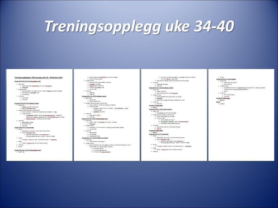 Treningsopplegg uke 34-40