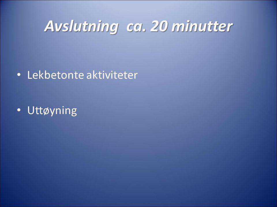 Avslutning ca. 20 minutter Lekbetonte aktiviteter Uttøyning
