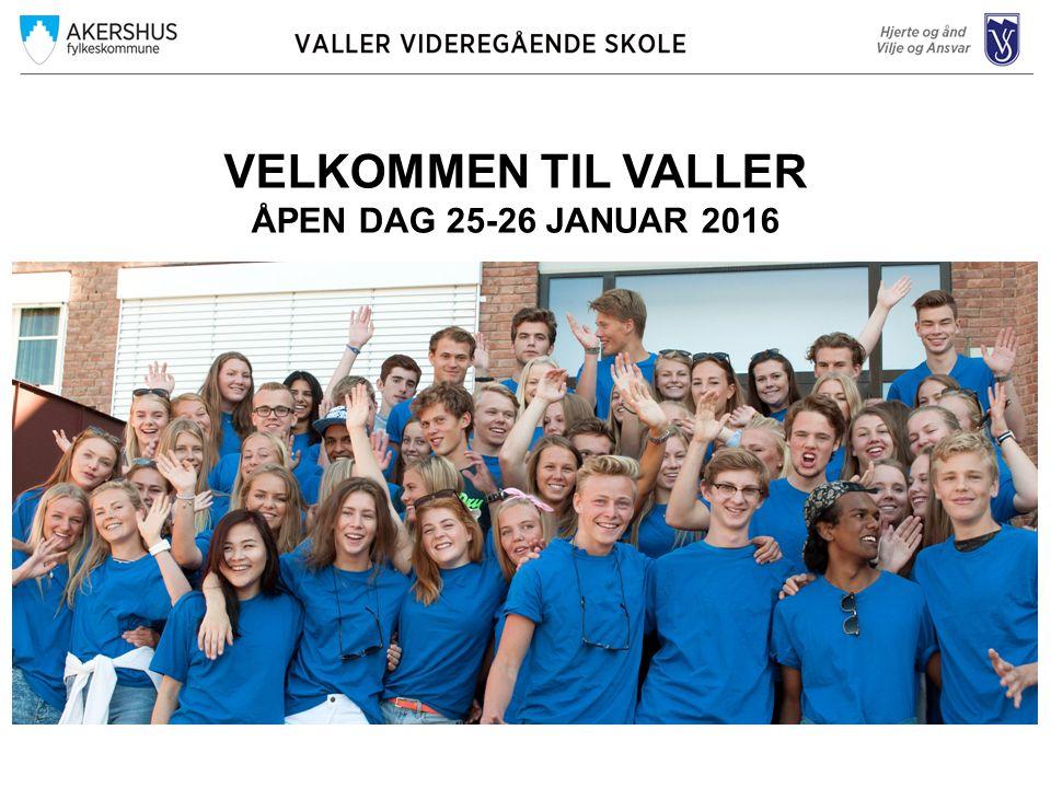 VELKOMMEN TIL VALLER ÅPEN DAG 25-26 JANUAR 2016