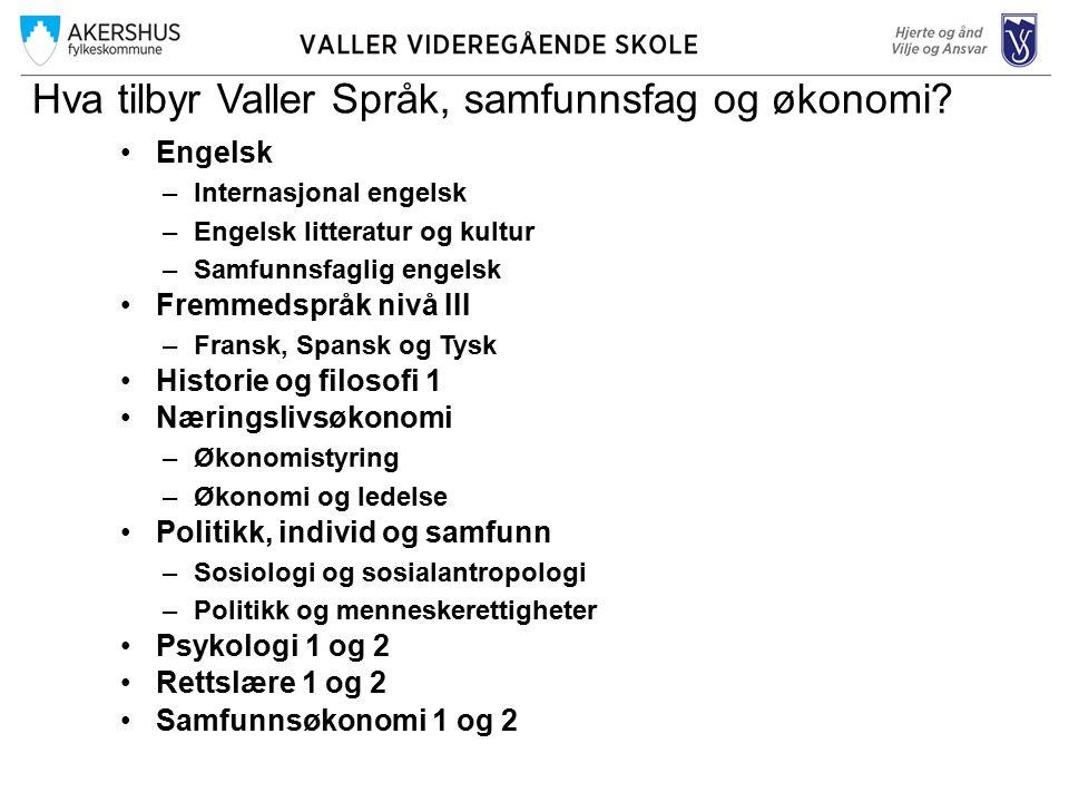 Hva tilbyr Valler Språk, samfunnsfag og økonomi.