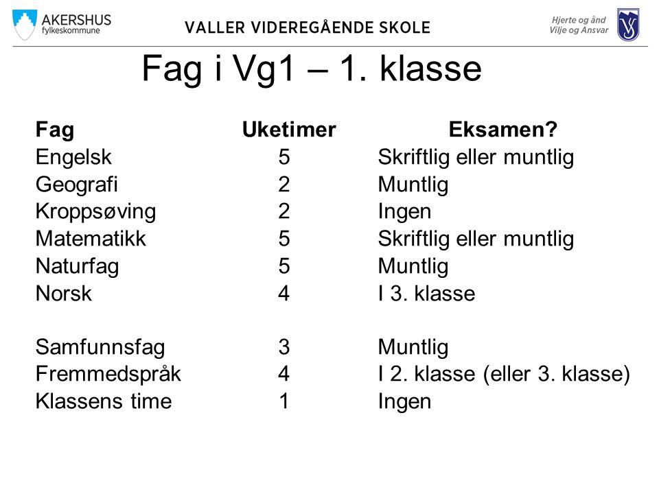 Fag i Vg1 – 1.klasse FagUketimerEksamen.