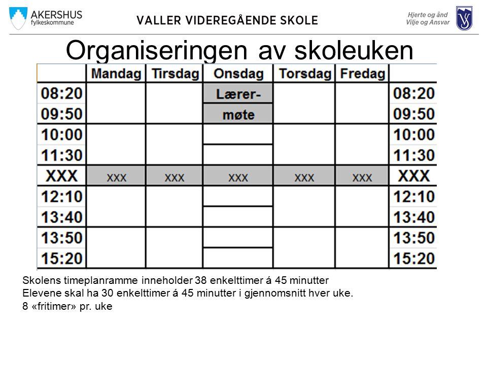 Organiseringen av skoleuken Skolens timeplanramme inneholder 38 enkelttimer á 45 minutter Elevene skal ha 30 enkelttimer á 45 minutter i gjennomsnitt hver uke.