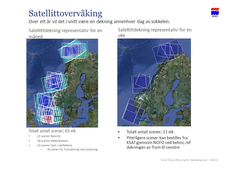 Norsk Oljevernforening For Operatørselskap | Side 13 Satellittovervåking Over ett år vil det i snitt være en dekning annenhver dag av sokkelen.