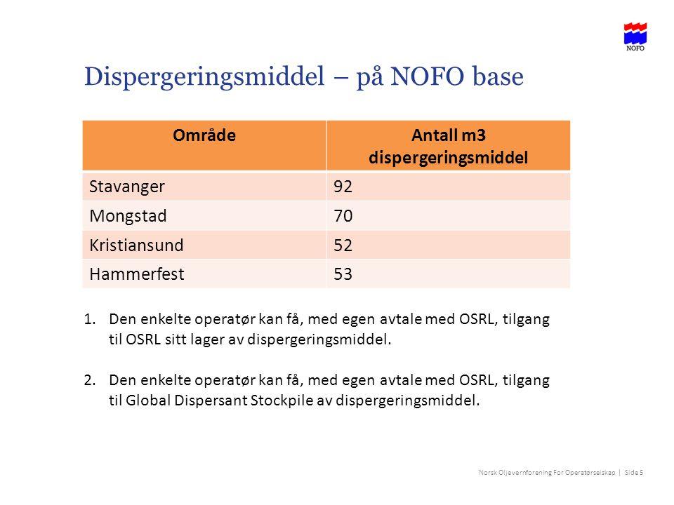 Norsk Oljevernforening For Operatørselskap | Side 5 Dispergeringsmiddel – på NOFO base OmrådeAntall m3 dispergeringsmiddel Stavanger92 Mongstad70 Kris