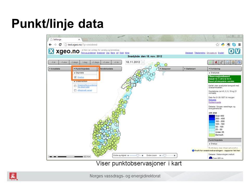 Norges vassdrags- og energidirektorat Punkt/linje data Viser punktobservasjoner i kart