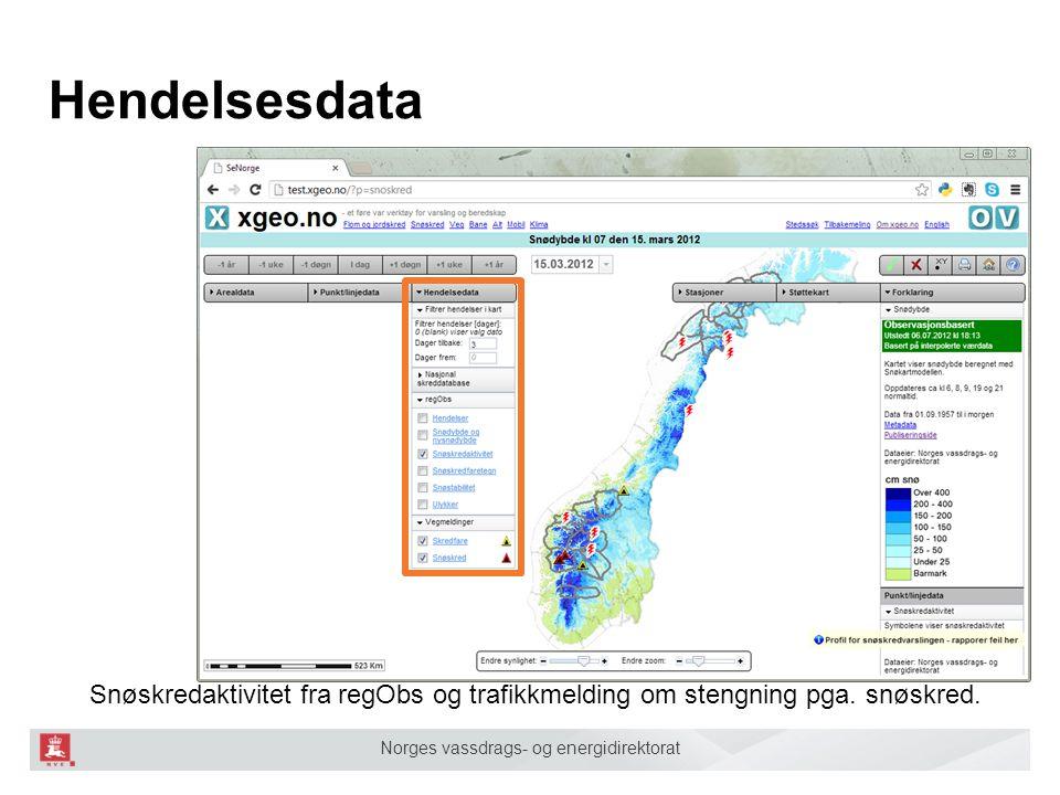 Norges vassdrags- og energidirektorat Hendelsesdata Snøskredaktivitet fra regObs og trafikkmelding om stengning pga. snøskred.