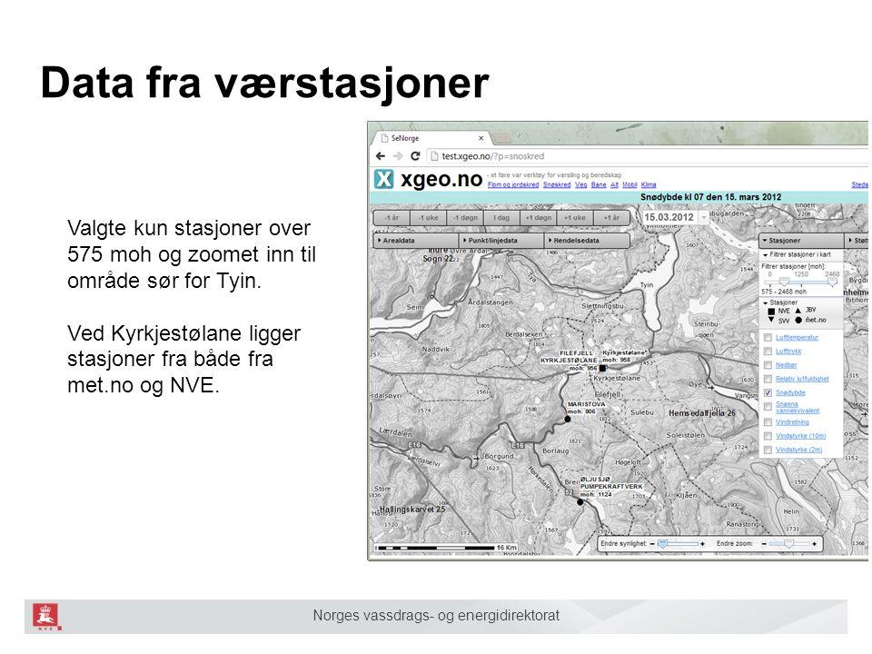 Norges vassdrags- og energidirektorat Data fra værstasjoner Valgte kun stasjoner over 575 moh og zoomet inn til område sør for Tyin. Ved Kyrkjestølane