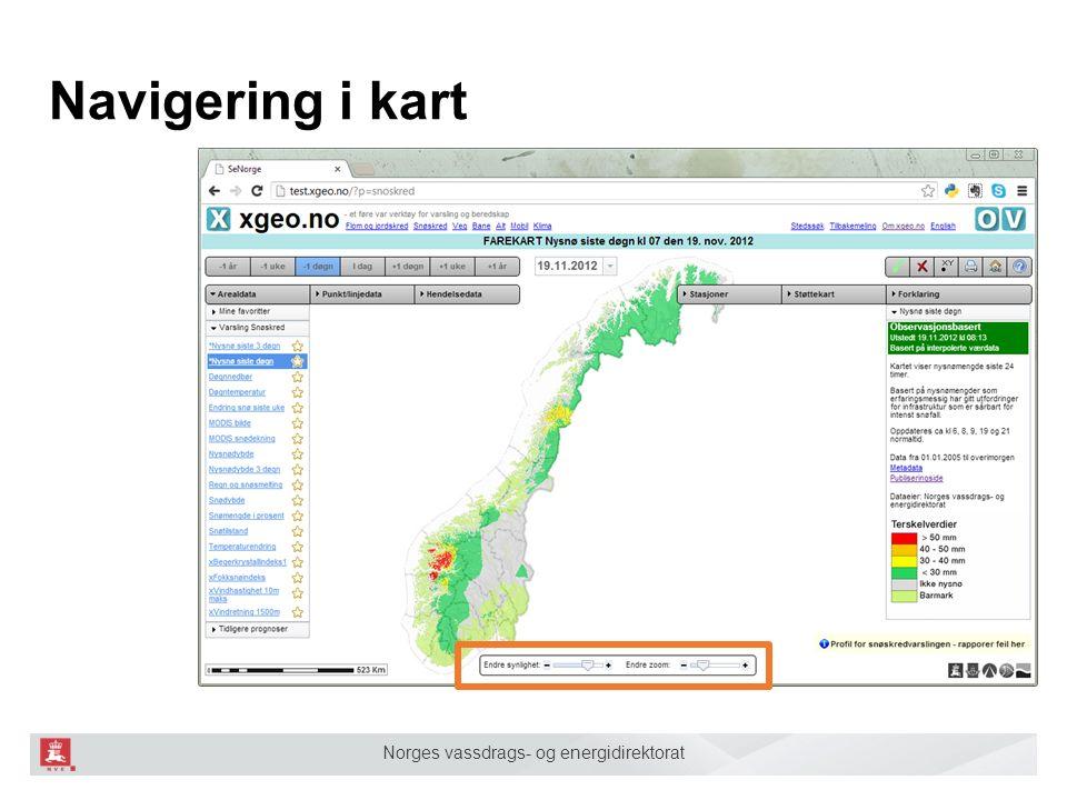 Norges vassdrags- og energidirektorat Navigering i kart