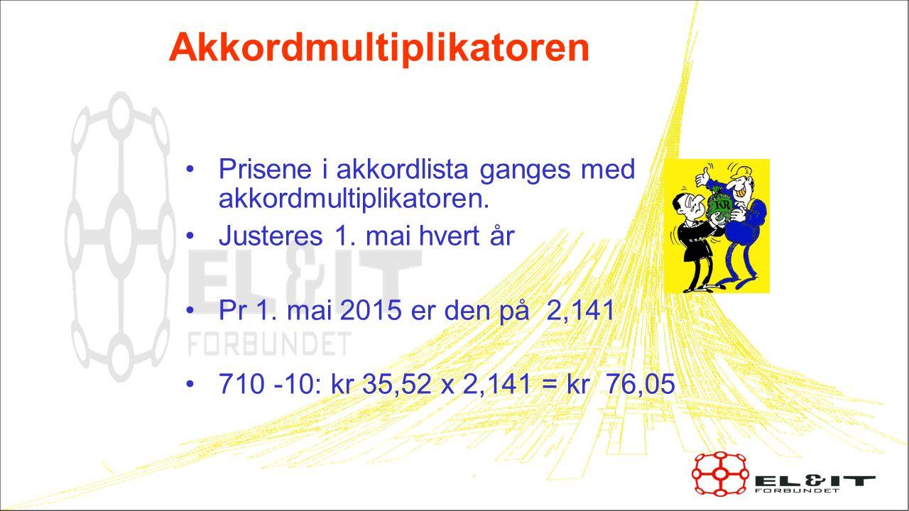 Akkordmultiplikatoren Prisene i akkordlista ganges med akkordmultiplikatoren. Justeres 1. mai hvert år Pr 1. mai 2015 er den på 2,141 710 -10: kr 35,5